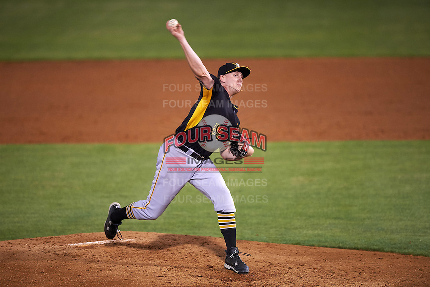 Bradenton Marauders relief pitcher Henry Hirsch (50) delivers a pitch during a game against the Tampa Yankees on April 11, 2016 at George M. Steinbrenner Field in Tampa, Florida.  Tampa defeated Bradenton 5-2.  (Mike Janes/Four Seam Images)