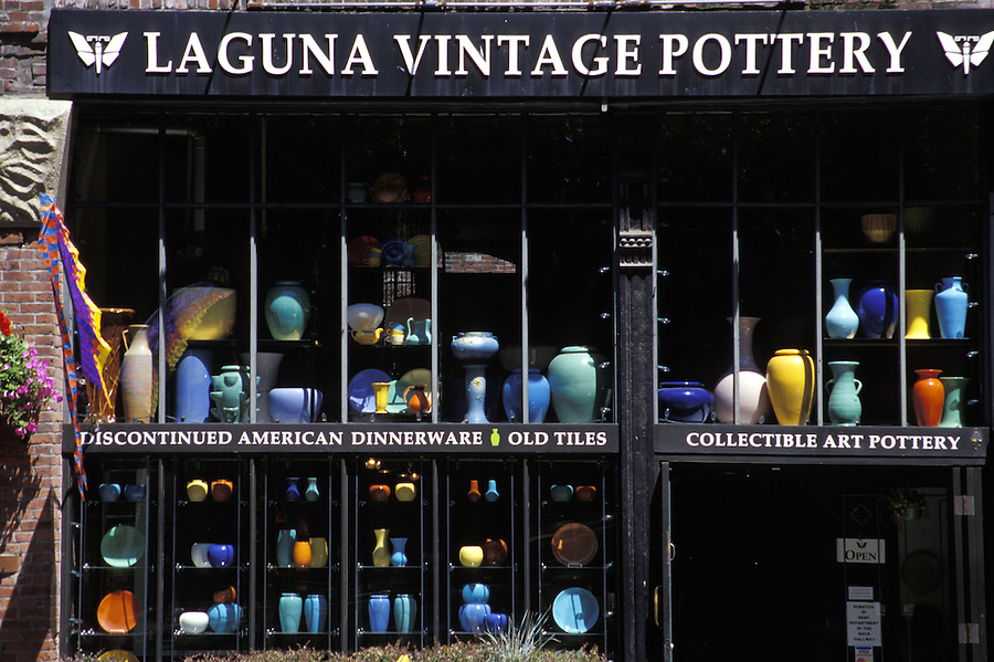 Glass pots in window of Vaguna Vintage Pottery, Seattle, Washington