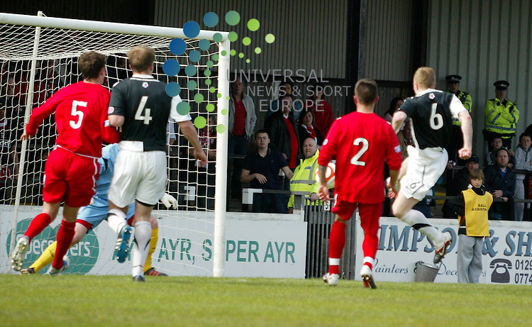 Ayr's Andy Geggan makes the score even at one all. Scottish Football League Division 1 & Div 2 play off between Ayr United V Airdrie United at Somerset Park on Saturday 12 May 2012. Universal News & Sport (Scotland)