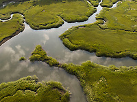 Blackwater creek, aerial marsh view Wellfleet, Cape Cod, MA