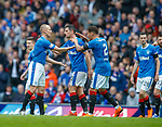 07.04.2018: Rangers v Dundee:<br /> Kenny Miller takes the acclaim after opening the scoring
