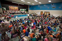 "NWA Democrat-Gazette/J.T. WAMPLER  Students and parents watch the annual kindergartners musical production Monday March 11, 2018 at Holcomb Elementary School in Fayetteville. More than 150 kindergartners performed ""Prime Time Nursery Rhymes"" to a packed audience."