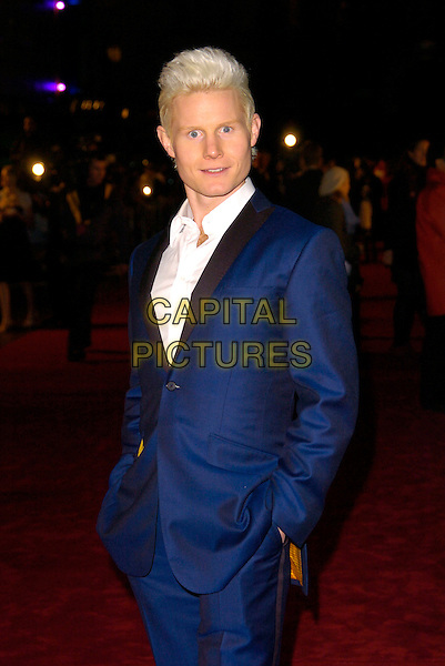 """RHYDIAN ROBERTS.The UK Film premiere of """"The Golden Compass"""" at the Odeon Leicester Square, London, England..November 27th 2007.half length blue suit hand in pocket.CAP/CAN.©Can Nguyen/Capital Pictures"""