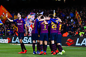 30th January 2019, Camp Nou, Barcelona, Spain; Copa del Rey football, quarter final, second leg, Barcelona versus Sevilla; Sergi Roberto, Luis Suarez, Philippe Coutinho, Lionel Messi and Sergio Busquets of FC Barcelona celebrates scoring their side's 4th goal in minute 58