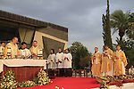 Israel, the Sea of Galilee, the Franciscan Pilgrimage to Capernaum, the Town of Jesus, the Custos of the Holy Land Fr. Pierbattista Pizzaballa presiding over the ceremony