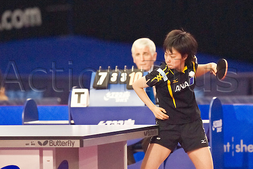 29.01.2011 English Open ITTF Pro Tour Table Tennis from the EIS in Sheffield. Kasumi Ishikawa of Japan serves for the match