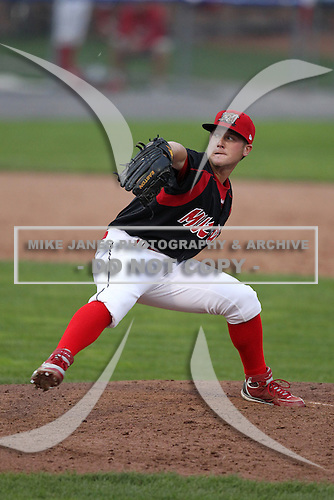 Batavia Muckdogs pitcher Justin Wright (24) during the first game of a double header vs. the Williamsport Crosscutters at Dwyer Stadium in Batavia, New York;  August 25, 2010.   Batavia defeated Williamsport 4-3.  Photo By Mike Janes/Four Seam Images