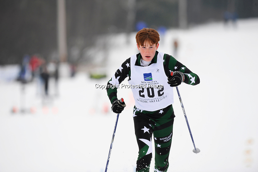 A skier competes at the 2009 Wisconsin High School Nordic Ski Championships held Feb. 7, 2009 at Minocqua Winter Park & Nordic Center, in Minocqua, WI.