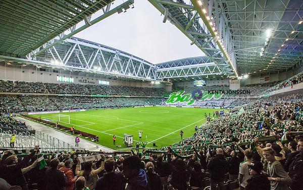 Stockholm 2014-11-02 Fotboll Superettan Hammarby IF - J&ouml;nk&ouml;pings S&ouml;dra IF :  <br /> Vy &ouml;ver Tele2 Arena med ett tifo och halsdukar av Hammarbys supportrar inf&ouml;r matchen mellan Hammarby IF och J&ouml;nk&ouml;pings S&ouml;dra IF <br /> (Foto: Kenta J&ouml;nsson) Nyckelord:  Superettan Tele2 Arena Hammarby HIF Bajen J&ouml;nk&ouml;ping S&ouml;dra IF J-S&ouml;dra inomhus interi&ouml;r interior fans publik supporters