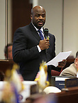 Nevada Sen. Kelvin Atkinson, D-North Las Vegas, speaks on the Seate floor at the Legislative Building in Carson City, Nev., on Wednesday, May 22, 2013. <br /> Photo by Cathleen Allison
