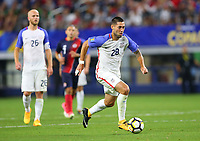 ARLINGTON, TEXAS - Saturday July 22, 2017: Clint Dempsey #28 of USMNT moves the ball down field against the Costa Rica National Team in the second half of the match at AT&T Stadium.