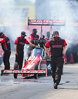 Jul 12, 2020; Clermont, Indiana, USA; Crew member for NHRA top fuel driver Billy Torrence during the E3 Spark Plugs Nationals at Lucas Oil Raceway. This is the first race back for NHRA since the start of the COVID-19 global pandemic. Mandatory Credit: Mark J. Rebilas-USA TODAY Sports