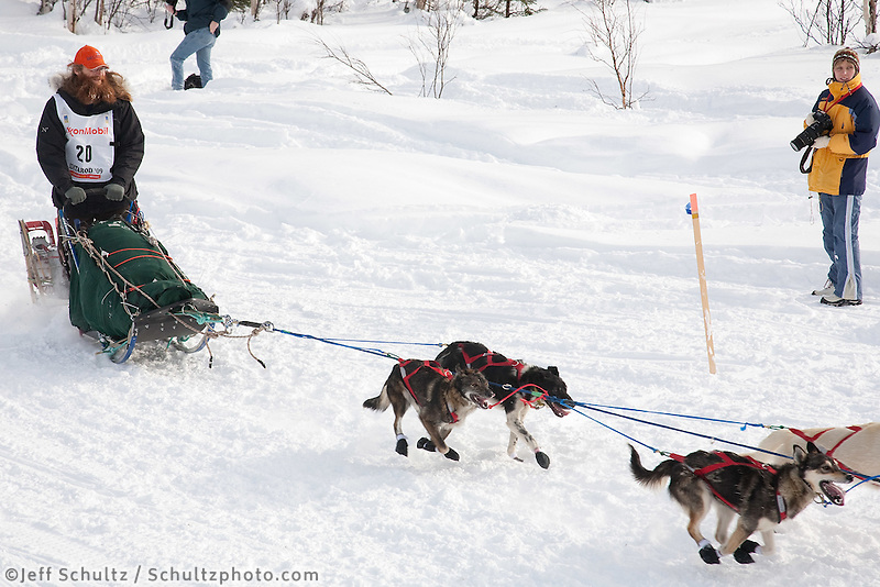 Musher # 20 Trent Herbst at the Restart of the 2009 Iditarod in Willow Alaska.