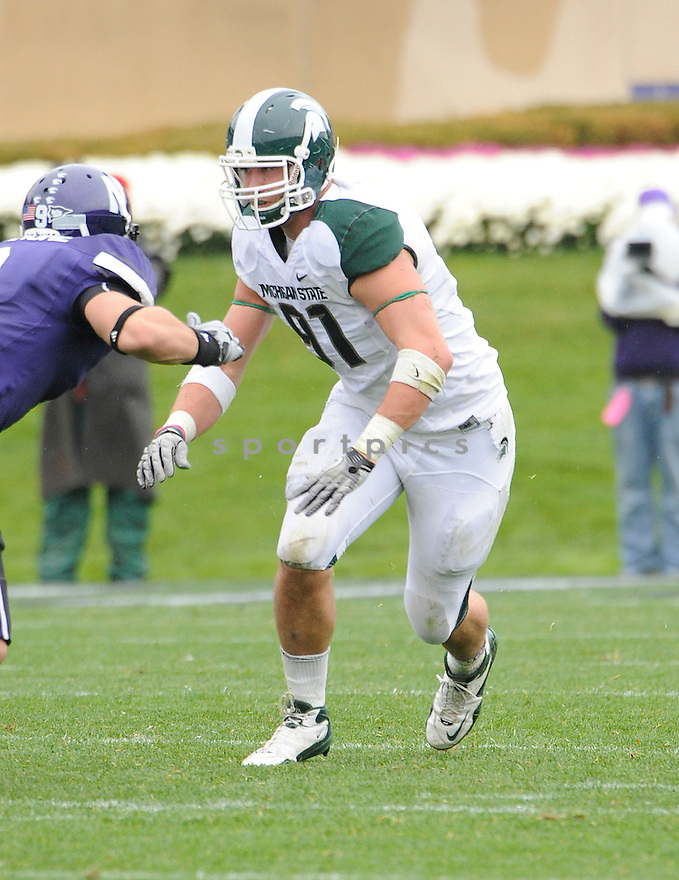 TYLER HOOVER, of the Michigan State Spartans, in action during the Spartans game against the Northwestern Wildcats at Ryan Field on October 23, 2010  in Evanston...Michigan State beat Northwestern 35-27.