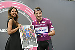 Maglia Ciclamino Elia Viviani (ITA) Quick-Step Floors at sign on before the start of Stage 17 of the 2018 Giro d'Italia, The Franciacorta Stage running 155km from Riva del Garda to Iseo, Italy. 23rd May 2018.<br /> Picture: LaPresse/Fabio Ferrari | Cyclefile<br /> <br /> <br /> All photos usage must carry mandatory copyright credit (&copy; Cyclefile | LaPresse/Fabio Ferrari)
