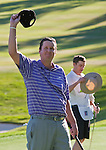 August 5, 2012: J.J. Henry from Ft. Worth, TX celebrates after sinking the final putt on the 18th hole to win the 2012 Reno-Tahoe Open Golf Tournament at Montreux Golf & Country Club in Reno, Nevada.