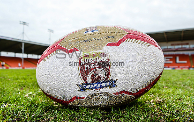 Picture by Alex Whitehead/SWpix.com - 24/05/2015 - Rugby League - Kingstone Press Championship Summer Bash - Dewsbury Rams v Batley Bulldogs - Bloomfield Road, Blackpool, England - The Brief. Ball.