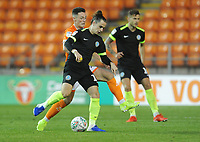 Macclesfield Town's Ben Stephens under pressure from Blackpool's Jordan Thompson<br /> <br /> Photographer Kevin Barnes/CameraSport<br /> <br /> The Carabao Cup First Round - Blackpool v Macclesfield Town - Tuesday 13th August 2019 - Bloomfield Road - Blackpool<br />  <br /> World Copyright © 2019 CameraSport. All rights reserved. 43 Linden Ave. Countesthorpe. Leicester. England. LE8 5PG - Tel: +44 (0) 116 277 4147 - admin@camerasport.com - www.camerasport.com