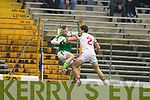 Barry John Keane, Kerry in action against Conor Mc Nally Tyrone in the fourth round of the National Football league at Fitzgerald Stadium, Killarney on Sunday.