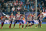 Atletico de Madrid's Jose Maria Gimenez, Lucas Hernandez, Fernando Torres, Filipe Luis, Koke Resurrecccion, Matias Kranevitter, Saul Niguez and Gabi Fernandez celebrate the victory during UEFA Champions League match. March 15,2016. (ALTERPHOTOS/Acero)