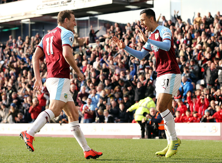 Burnley's Dwight McNeil (right) celebrates with team-mate Chris Wood after scoring his side's second goal <br /> <br /> Photographer Rich Linley/CameraSport<br /> <br /> The Premier League - Burnley v Wolverhampton Wanderers - Saturday 30th March 2019 - Turf Moor - Burnley<br /> <br /> World Copyright © 2019 CameraSport. All rights reserved. 43 Linden Ave. Countesthorpe. Leicester. England. LE8 5PG - Tel: +44 (0) 116 277 4147 - admin@camerasport.com - www.camerasport.com