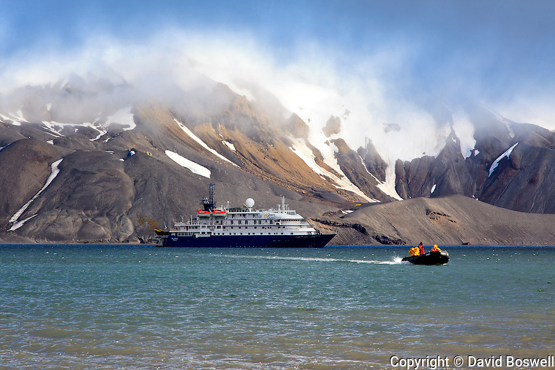 "The ""Sea Spirit"" at anchor in Whalers Bay at Deception Island, off the Antarctic Peninsula."