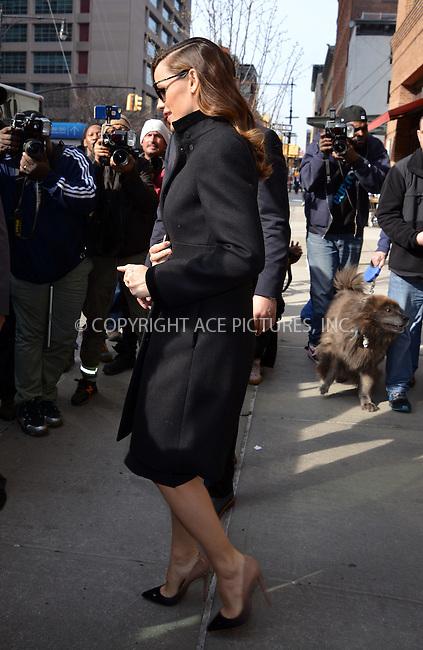 WWW.ACEPIXS.COM<br /> <br /> March 16 2016, New York City<br /> <br /> Actress Jennifer Garner leaves a downtown hotel on March 16 2016 in New York City<br /> <br /> By Line: Curtis Means/ACE Pictures<br /> <br /> <br /> ACE Pictures, Inc.<br /> tel: 646 769 0430<br /> Email: info@acepixs.com<br /> www.acepixs.com