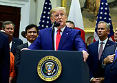 United States President Donald J. Trump makes remarks at the signing ceremony for the US-Japan Trade Agreement and US-Japan Digital Trade Agreement in the Roosevelt Room of the White House in Washington, DC on Monday, October 7, 2019.<br /> Credit: Ron Sachs / Pool via CNP