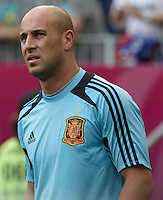 EURO 2012 - POLAND - Gdansk - 10 JUNE 2012 - Spain vs Italy first group C match. Spanish goalkeeper Pepe Reina.