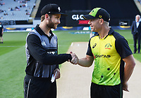 Kane Williamson and David Warner.<br /> New Zealand Black Caps v Australia.Tri-Series International Twenty20 cricket final. Eden Park, Auckland, New Zealand. Wednesday 21 February 2018. &copy; Copyright Photo: Andrew Cornaga / www.Photosport.nz