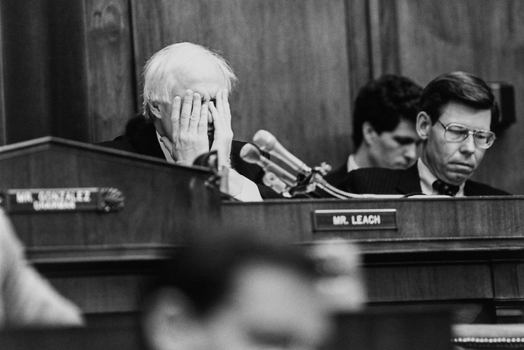 Rep. Jim Leach, R-Iowa, already tired of the Whitewater hearing on banking, on July 28, 1994. (Photo by Laura Patterson/CQ Roll Call via Getty Images)