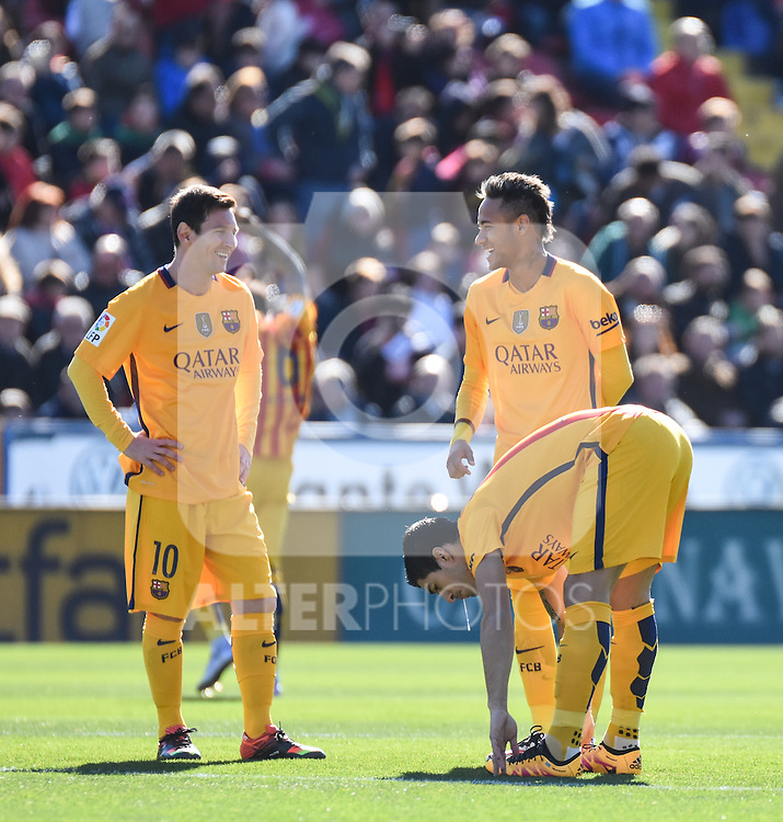 FC Barcelona's Lionel Messi, Neymar and Luis Suarez  during La Liga match. February 7, 2016. (ALTERPHOTOS/Javier Comos)