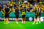 09.08.2019, Merkur Spiel-Arena, Düsseldorf, GER, DFB Pokal, 1. Hauptrunde, KFC Uerdingen vs Borussia Dortmund , DFB REGULATIONS PROHIBIT ANY USE OF PHOTOGRAPHS AS IMAGE SEQUENCES AND/OR QUASI-VIDEO<br /> <br /> im Bild | picture shows:<br /> die Reservisten des BVB waermen sich auf, (vl) Mahmoud Dahoud (Borussia Dortmund #8), Oemer Toprak (Borussia Dortmund #36), Marius Wolf (Borussia Dortmund #27) und Marcel Schmelzer (Borussia Dortmund #29), <br /> <br /> Foto © nordphoto / Rauch