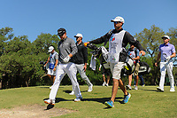 Brian Gay (USA), Brooks Koepka (USA), and Cameron Smith (USA) depart the second tee during round 4 of the Valero Texas Open, AT&amp;T Oaks Course, TPC San Antonio, San Antonio, Texas, USA. 4/23/2017.<br /> Picture: Golffile | Ken Murray<br /> <br /> <br /> All photo usage must carry mandatory copyright credit (&copy; Golffile | Ken Murray)