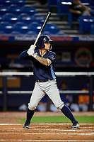 Charlotte Stone Crabs left fielder Robbie Tenerowicz (1) at bat during the second game of a doubleheader against the St. Lucie Mets on April 24, 2018 at First Data Field in Port St. Lucie, Florida.  St. Lucie defeated Charlotte 5-3.  (Mike Janes/Four Seam Images)