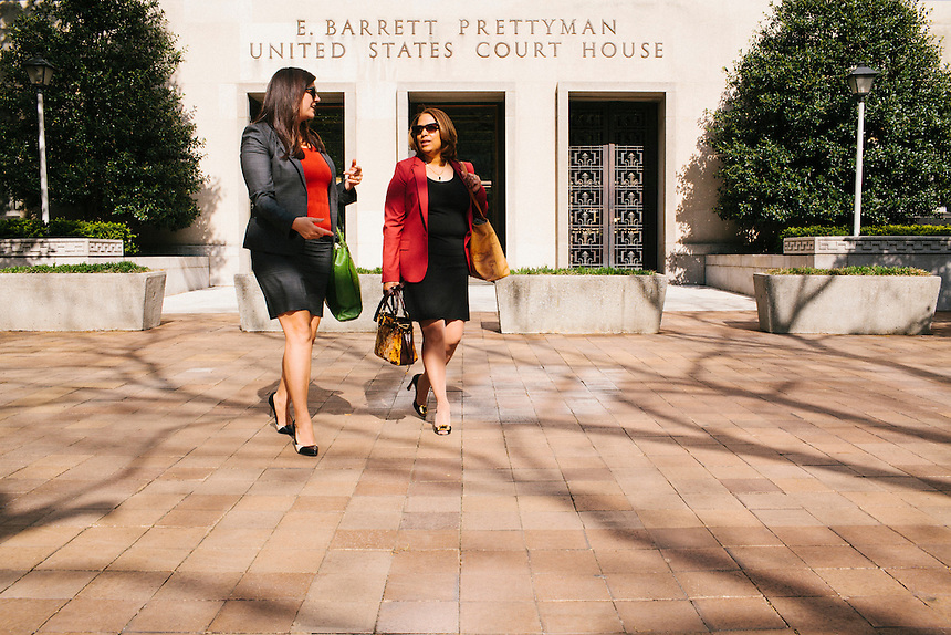 WASHINGTON, DC - MAY 2, 2014: Cate Edwards, left, and her law partner Sharon Eubanks leave the courthouse after a hearing in Washington, DC on May 2, 2014. Cate Edwards and Sharon Eubanks are partners in the DC law office of Edwards Kirby.  (Photo by Lance Rosenfield/Prime for The Washington Post)