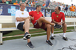 08 July 2015: Fort Lauderdale head coach Gunter Kronsteiner (left) with assistants Raoul Voss (GER) (center) and Ricardo Lopes (right). The Carolina RailHawks hosted the Fort Lauderdale Strikers at WakeMed Stadium in Cary, North Carolina in a North American Soccer League 2015 Fall Season match. The game ended in a 1-1 tie.