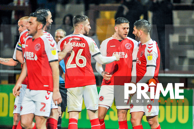 Fleetwood Town's forward Ched Evans (9) celebrates with Fleetwood Town's forward Wes Burns (7) during the Sky Bet League 1 match between Fleetwood Town and Coventry City at Highbury Stadium, Fleetwood, England on 27 November 2018. Photo by Stephen Buckley / PRiME Media Images.
