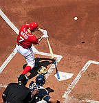 23 August 2009: Washington Nationals' catcher Josh Bard at bat against the Milwaukee Brewers at Nationals Park in Washington, DC. The Nationals defeated the Brewers 8-3 to take the third game of their four-game series, snapping a five games losing streak. Mandatory Credit: Ed Wolfstein Photo