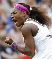 26.06.2012 London, England Serena Williams of USA in action against Zahlavova Strycova during day two of the Wimbledon Tennis Championships at The All England Lawn Tennis Club.