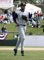 April 10, 2004:  /of/ Alex Rios (28) of the Syracuse Sky Chiefs, Class-AAA International League affiliate of the Toronto Blue Jays, during a game at Frontier Field in Rochester, NY.  Photo by:  Mike Janes/Four Seam Images