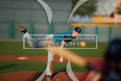 Brody Jessee (8) of SOUTH ANCHORAGE High School in Anchorage, Alaska during the Under Armour All-American Pre-Season Tournament presented by Baseball Factory on January 14, 2017 at Sloan Park in Mesa, Arizona.  (Zac Lucy/Mike Janes Photography)