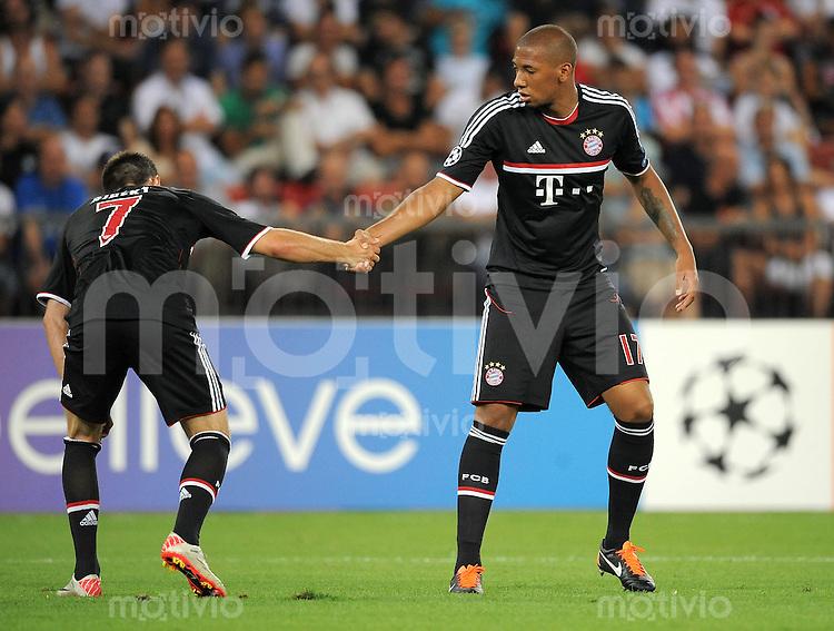 FUSSBALL   CHAMPIONS LEAGUE   SAISON 2011/2012  Qualifikation  23.08.2011 FC Zuerich - FC Bayern Muenchen Franck Ribery , Jerome Boateng (v. li., FC Bayern Muenchen)