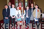 Scoil Naomh Eirc,Baile an Mhóraigh, pupils Cathal Ó Grifín, Breandan Ó Grífin, Colm Ó Muircheartaigh, Rachel Ní Néill, Orla Ní Bheaglaoich, Cathal ÓMuircheartaigh the day of their Confirmation with their múinteoirí Fergal ÓSé and Aine de hondra and Canon Tomas Ó Luanaigh at Séipel Naomh Uiseann, Baile 'n Fheiréaraigh, on Tuesday afternoon..