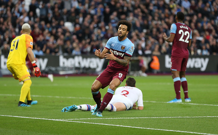 West Ham United's Felipe Anderson after missing a first half chance<br /> <br /> Photographer Rob Newell/CameraSport<br /> <br /> The Premier League - West Ham United v Crystal Palace - Saturday 5th October 2019 - London Stadium - London<br /> <br /> World Copyright © 2019 CameraSport. All rights reserved. 43 Linden Ave. Countesthorpe. Leicester. England. LE8 5PG - Tel: +44 (0) 116 277 4147 - admin@camerasport.com - www.camerasport.com