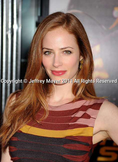 "UNIVERSAL CITY, CA - OCTOBER 02: Jaime Ray Newman attends the ""Real Steel"" Los Angeles Premiere at Gibson Amphitheatre on October 2, 2011 in Universal City, California."