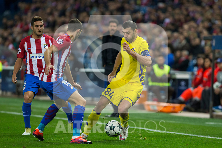 Atletico de Madrid's Gabi Fernandez Koke Resurrecccion an FC Rostov's Aleksandr Gatskan during the match of UEFA Champions League between Atletico de Madrid and FC Rostov, at Vicente Calderon Stadium,  Madrid, Spain. November 01, 2016. (ALTERPHOTOS/Rodrigo Jimenez)