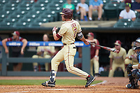 Jackson Lueck (2) of the Florida State Seminoles follows through on his swing against the North Carolina Tar Heels in the 2017 ACC Baseball Championship Game at Louisville Slugger Field on May 28, 2017 in Louisville, Kentucky. The Seminoles defeated the Tar Heels 7-3. (Brian Westerholt/Four Seam Images)