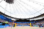 26.08.2017, Hamburg, Stadion Am Rothenbaum<br />Beachvolleyball, World Tour Finals<br /><br />Aufschlag / Service Laura Ludwig (#1 GER)<br /><br />  Foto © nordphoto / Kurth