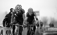 Mathieu Vanderpoel (NLD/BKCP-Powerplus) &amp; Wout Van Aert (BEL/Vastgoedservice-Golden Palace) fighting it out between them in a sea of sticky black mud<br /> <br /> Azencross Loenhout 2014